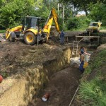 Inženýrské sítě Blažovice u Brna, pokládka kanalizace
